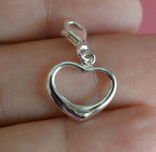 925 Sterling Silver Clip On Charm Cut Out Heart Bracelet Charm