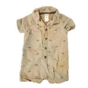 Carter Baby Boy Dinosaur Print One Piece Romper Outfit Button Down Sz 12 Months