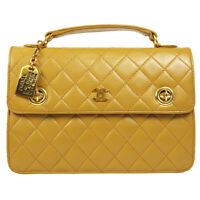 CHANEL Quilted CC Chain 2way Hand Bag 0413958 Purse Beige Leather Vintage 80505