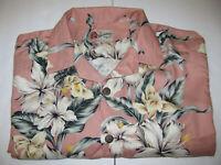 Hilo Hattie Rayon Hawaiian Shirt Men's Size XL Pink Floral