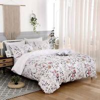 Soft Microfiber Floral Duvet Cover Set King Queen Size Bedding Set US