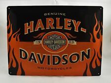 Superb Large Embossed Harley Davidson Tin Plate Wall Sign VW 40cm x 30cm