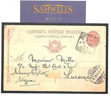 MS2518 1896 ITALIA BRINDISI CARTA inoltrato c/o * Thomas Cook * LUCERNA SVIZZERA
