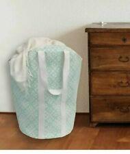"""Closet Complete Brand~24""""Tall~Foldable Carry-All Hamper/Tote~Teal/White~NEW"""