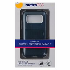 Metro PCS Dual Layer Kickstand Case for Alcatel One Touch Evolve 2 - Blue/White