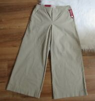 Merona Womens Cropped Pants Capri Khaki  Wide Leg Stretch Cotton Size S L XL XXL