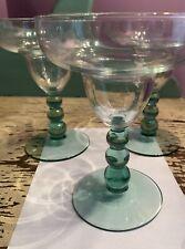 3 Margarita Glasses Green Beaded Bubble Stems