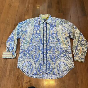 Mens Robert Graham Button Shirt Blue Green White Floral Flip Collar Sz XL