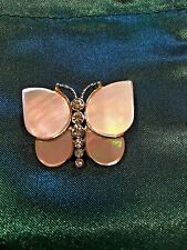 Monet Vintage Mother of Pearl and Rhinestone 3-D Butterfly Broach