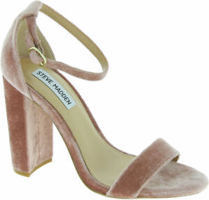 Steve Madden Women's block heels sandals powder pink velvet Size US 9 - EU 40