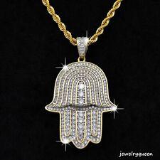 Evil Eye Glass Charm Pendant Turkish Nazar Greek Hamsa Gold Plated Necklace