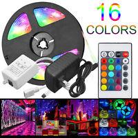 5M RGB 5050 Waterproof LED Strip light SMD 24 Key Remote 12V 36W Power Full Kit