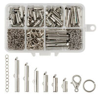 500PC/Box Iron Slide On Tube Clasps Smooth Ball Chain Loom Ends Platinum 10~30mm