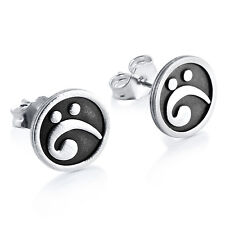 Bass Clef Musical Note Post Stud Earrings #925 Sterling Silver #Azaggi E0248S