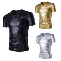 Men Wet Look PVC Leather Shiny T-Shirt Top Club Wear V Neck Fancy Dress
