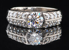Wedding Ring In 14Kt White Gold 1.90 Carat Round Shape Solitaire With Accents