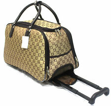 GG Print and Checked Luggage Wheeled Travel Bag Holdall Cabin Trolley Case Grey