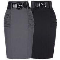 Élégant Femmes Bureau Coupe Slim Taille Haute Genou Midi Jupes Droites Mode