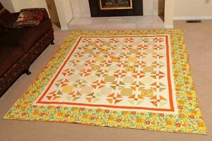 Queen Size quilt in bright greens & yellows  free shipping