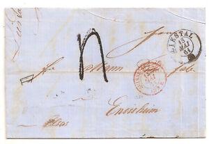LETTRE COVER,LAC,Suisse,LIESTAL 13/5/1861,Entrée 1264 St Louis,Ensisheim,Taxe 4d