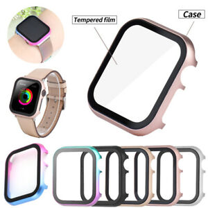 iWatch Glass Screen Protector Hard Frame Case for Apple Watch Series 6 5 4 3 SE