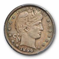 1896 25C Barber Quarter PCGS MS 63 Uncirculated Toned Original