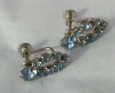 Rhinestone Earrings Vintage Blue Glass