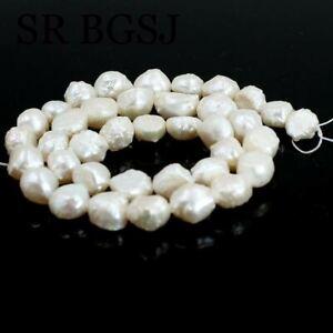 "Natural 8-9mm Baroque Keshi Edsion White Freshwater Pearl DIY Beads Strand 15"""