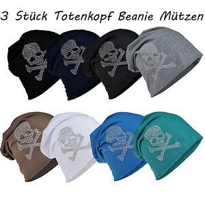3 Stück Long Beanie Mütze XXL mit Totenkopf Strass Skull Unisex Schwarz Trend