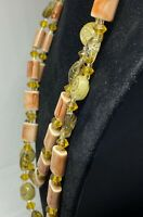 Vintage Long 1950s Pink Glass Lampwork Double Strand Confetti Lucite Necklace