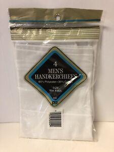 PA Paris Mens Handkerchiefs 4 Pack White on White Satin Stripes Poly Cotton NOS
