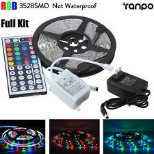 5M 3528 RGB 300 LED SMD Flexible Luz Tira Lámpara Luces + Control Remoto + Fuente De Alimentación