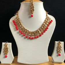 RED GOLD KUNDAN INDIAN COSTUME JEWELLERY NECKLACE EARRINGS CRYSTAL SET NEW 901