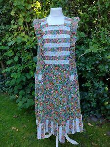 "Vintage Prairie Smock Dress 70s Floral 40"" Bust 39"" Waist 14 16"