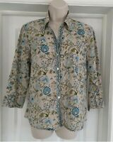 ANOKHI for EAST Blouse Multi Floral Artisan Shirt V-Neck Top Gold Accents UK 8