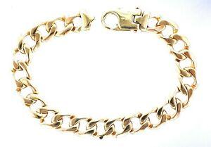 "9ct Yellow Gold 9.5"" 12mm Gauge Bevelled Edge Filed Curb Bracelet - 45.2 Grams"
