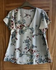 Wallis Ladies New Grey Red Floral Chiffon Heron Print Blouse Top Size 10 12 14