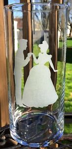 10 Engraved Wedding centerpieces Cinderella and Prince Charming Etched Glass