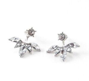 Crystal Ear Jacket Earrings Silver Drop Dangle Flower Pair
