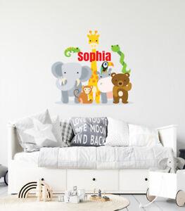 Custom Name Jungle Animals - Baby Safari Zoo Animals series Theme Wall Art Decal