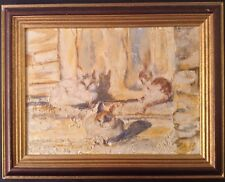"""TOREL CONIL Expressionnisme """" Le Matin des Chats """" Superbe Huile sur toile c1985"""