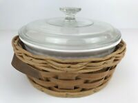 Corning Ware for Pyrex 2 Qt. French Casserole Dish in a Basket with Lid, F-1-B