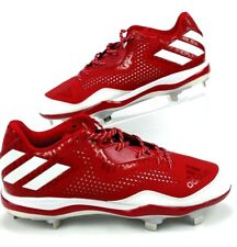 Adidas Mens 11.5 Baseball Cleats Red White Power Alley 4 Low Metal Q16486  S1
