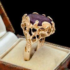Antique Vintage Deco Mid Century 14k Gold Brutalist Siberian Amethyst Ring 9.75