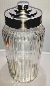 Vintage Style Large Ribbed Glass Jar, with a Stainless Steel Lid Free Delivery
