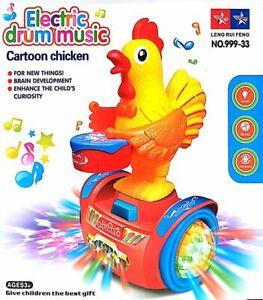 21CM Children Kids CARTOON CHICKEN With Drum Toy Play Lights, Music & Movement