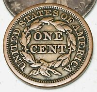 1848 Large Cent Matron Braided Hair 1C Higher Grade Good US Copper Coin CC4403