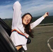 New! Brandy Melville White Rainbow Striped  long sleeve crewneck Acacia top NWT