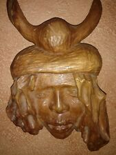 Jamaica Arawak Indian Man Hand Carved Wood Bust Ethnic Art Sculpture signed.