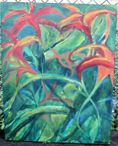 RED FLOWERS A  by Ruth FREEMAN ACRYLIC ON UNSTRETCHED CANVAS 20  X 30